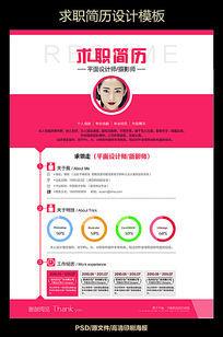 粉色女性创意求职简历设计