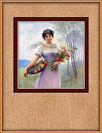 古典采花美女油画室内挂图