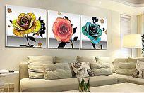 10款 唯美时尚玫瑰花三联无框画psd素材设计下载