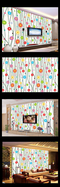时尚手绘花朵电视背景墙