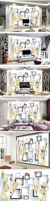 手绘3D百合马蹄莲方块电视背景墙