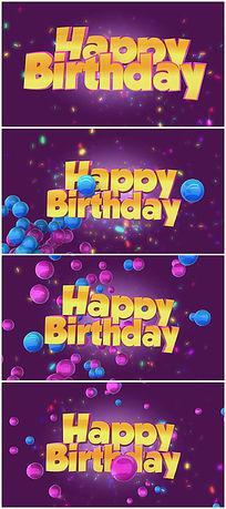 紫色浪漫生日视频素材