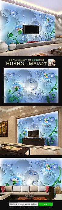 蓝色抽象花朵电视背景墙