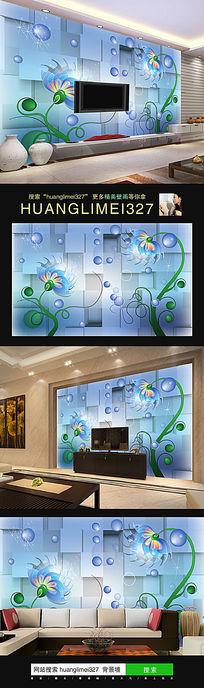 立体抽象梦幻花朵电视背景墙