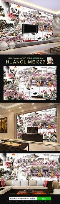 水墨风景中式电视背景墙
