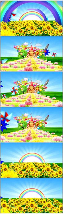大风车彩虹白云卡通儿童节视频