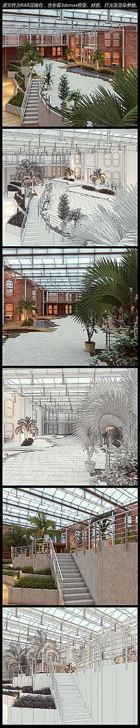 钢架大空间生态室内商场3d模型