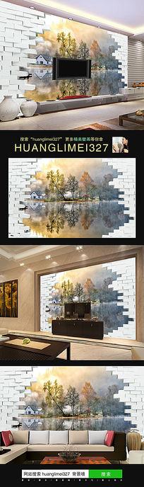 江南风景砖墙立体电视背景墙