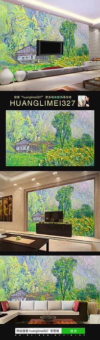 抽象油画田园树林电视背景墙