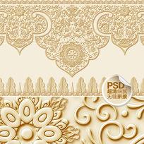 金色浮雕传统花纹电视背景墙