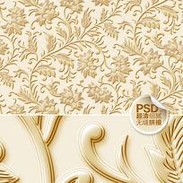 金色浮雕花纹沙发背景墙