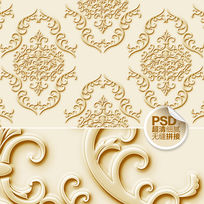 金色浮雕图案背景墙设计