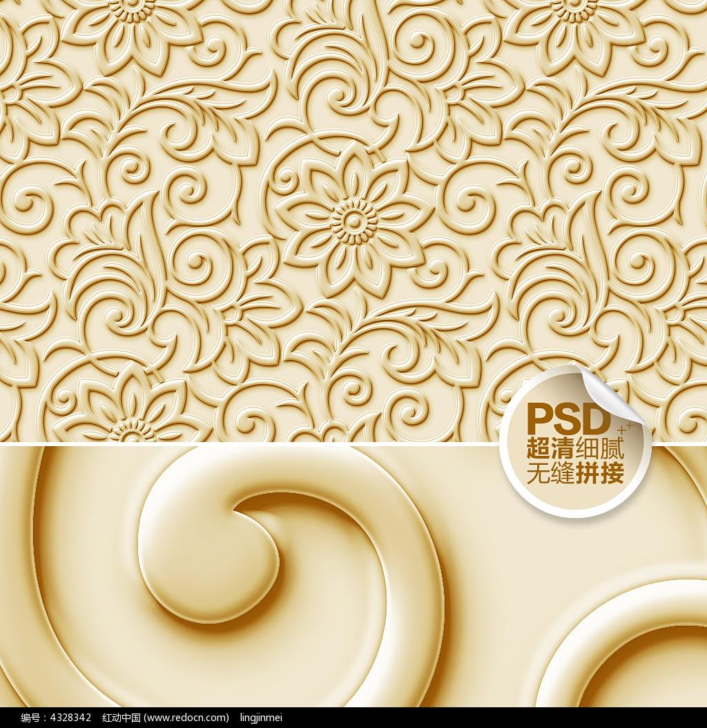 金色花朵欧式客厅墙纸设计