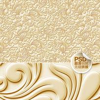 金色花纹电视背景墙模板