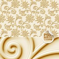 金色花纹电视背景墙设计