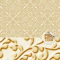 金色花纹欧式纸壁画设计