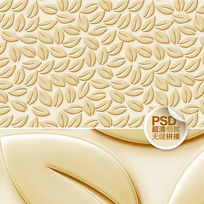 金色叶子浮雕客厅背景墙