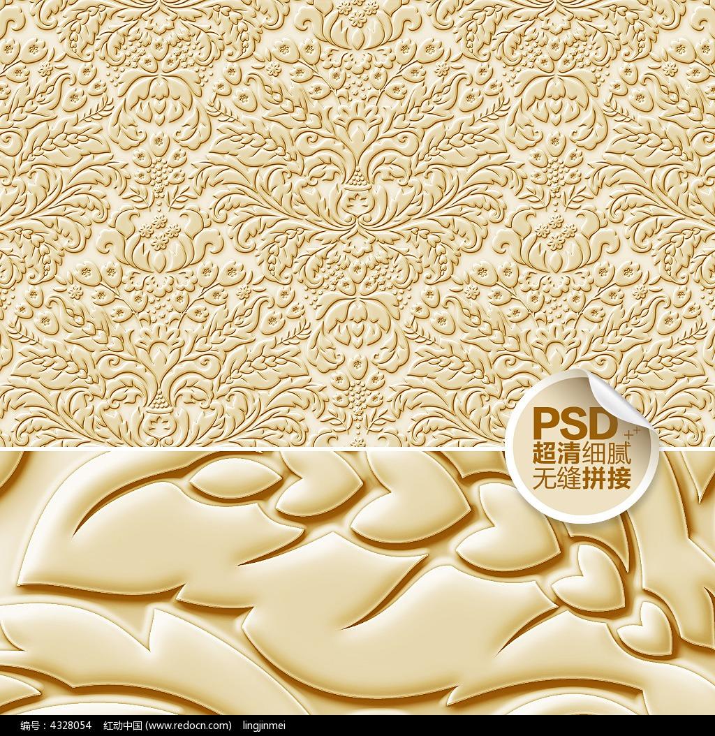 欧式浮雕花纹壁画设计