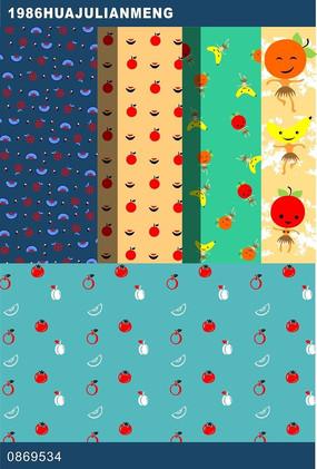 卡通水果印花图案设计