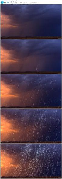 阴雨天气下的闪电高速摄影实拍素材