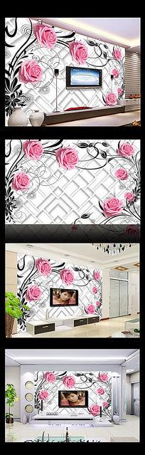 3D玫瑰花朵电视背景墙