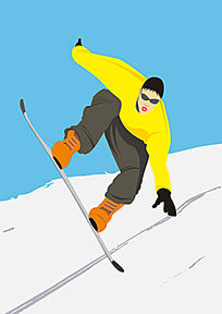 滑雪人物插画