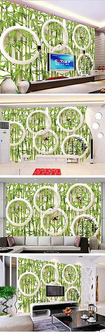 绿色清爽竹林电视背景墙