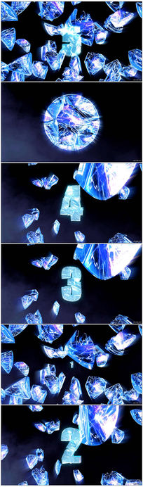 震撼冰块5秒倒计时视频素材