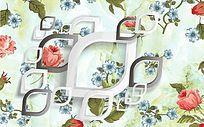 3D菱形韩版玫瑰印花电视背景墙