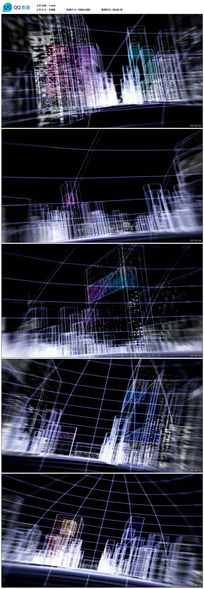 3D线框虚拟城市建筑漫游视频