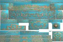 百福山水床精雕套图灰度图