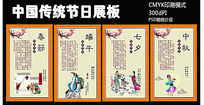 春节端午中秋七夕中国传统节日展板