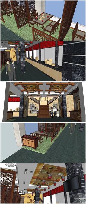 一套完整的中式餐厅超精SU模型