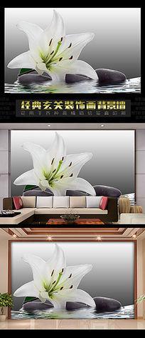 3d立体百合花电视背景墙