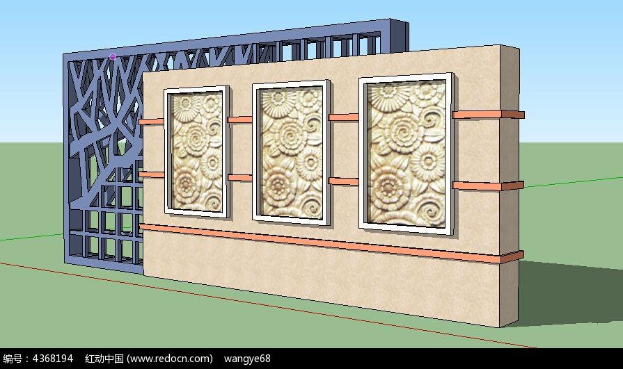 雕花镂空欧式景墙_3d模型/3d素材图片素材