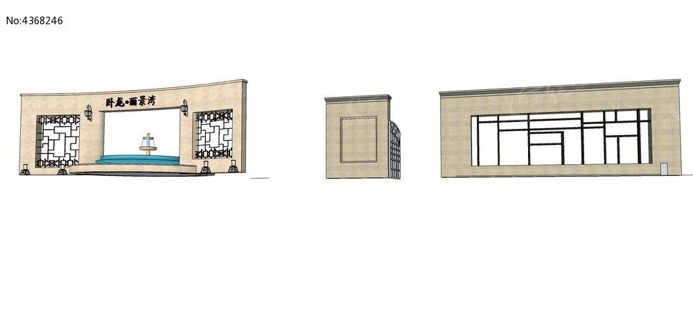 地产欧式时尚景墙su模型