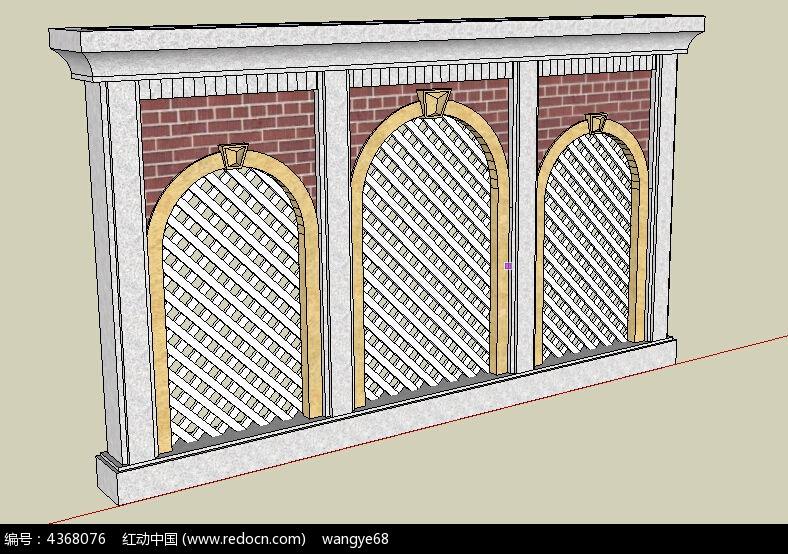 拱形门欧式景墙su模型