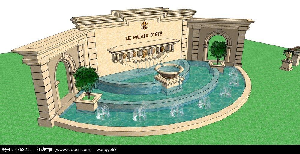 欧式带水景小品景墙su模型图片