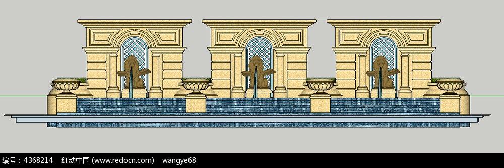 欧式雕塑形门水景墙su模型