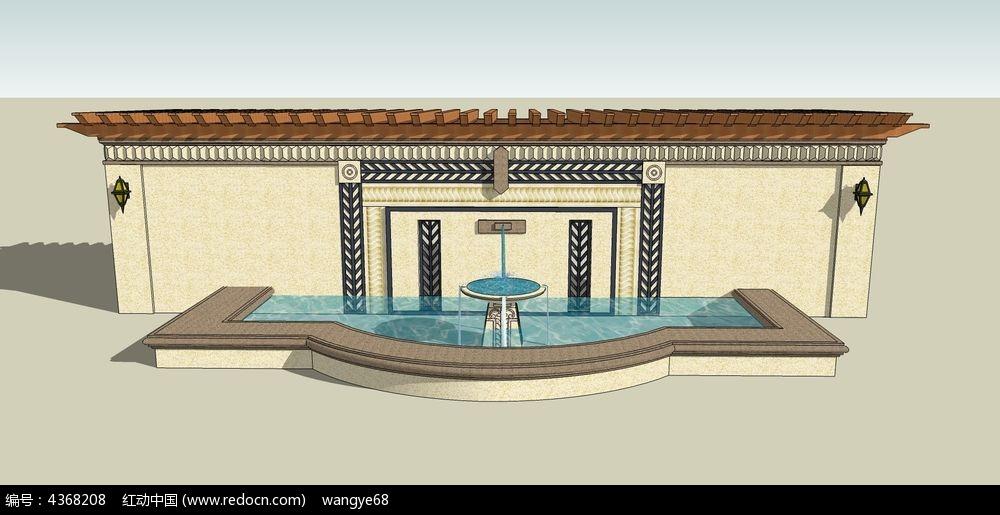 欧式喷泉水景墙su模型