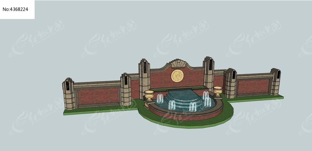 欧式喷泉小品景墙su模型