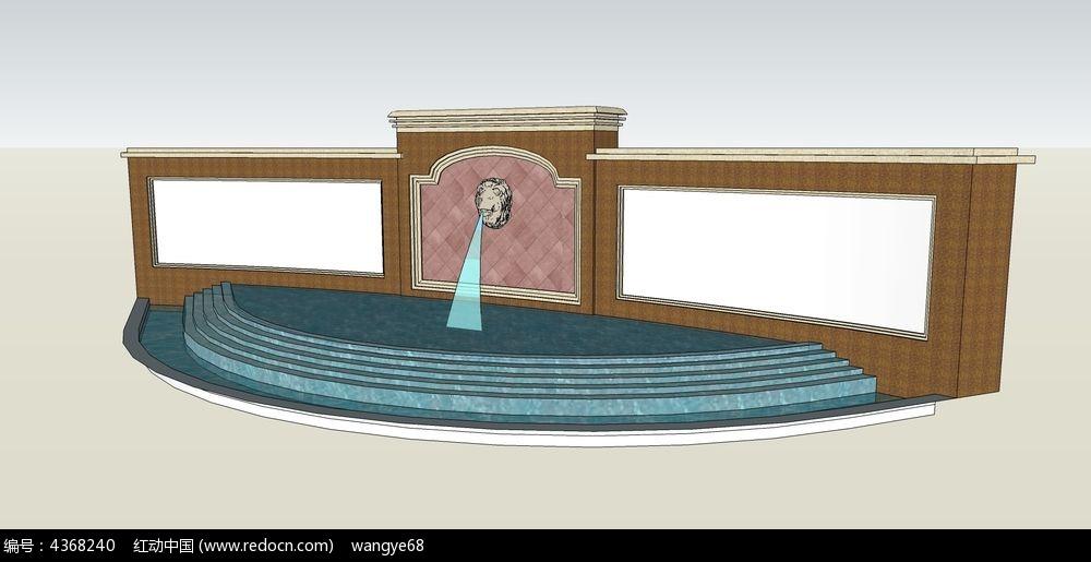 欧式狮子喷泉景墙_3d模型/3d素材图片素材