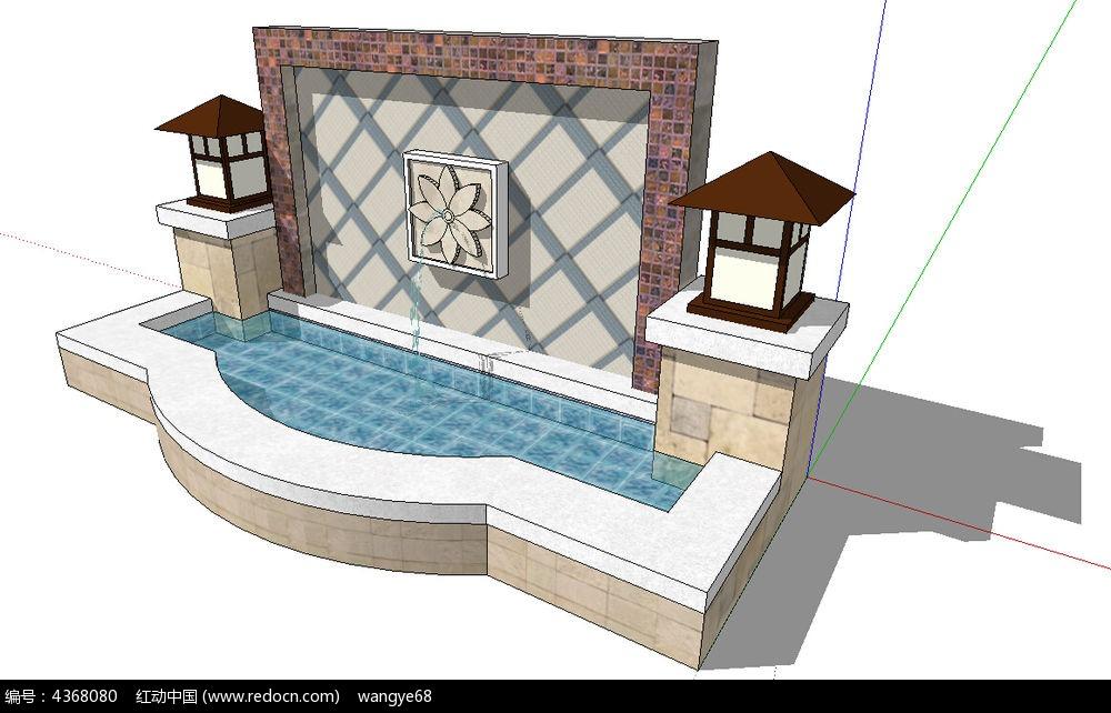 欧式现代景墙su模型