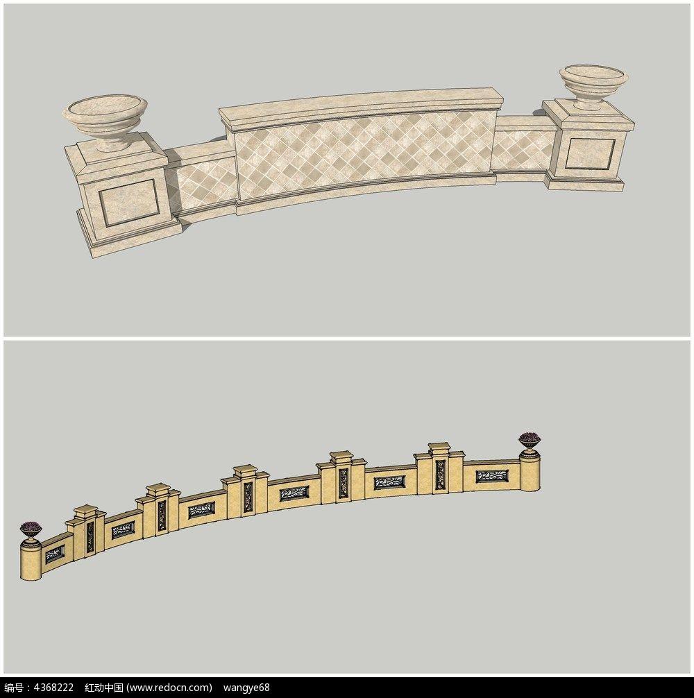 欧式现代景墙su模型图片