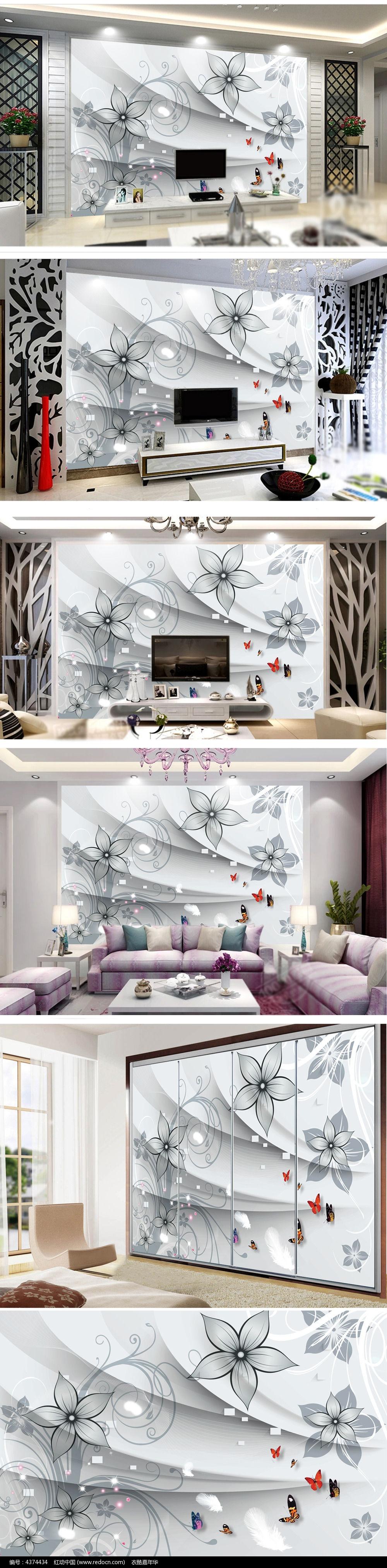 手绘牡丹电视背景墙psd素材设计下载