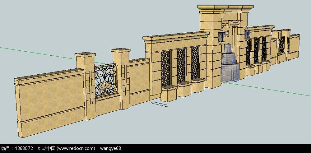 现代时尚欧式景墙su模型