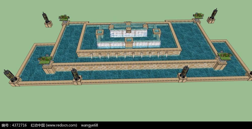 长方形水景喷泉su模型