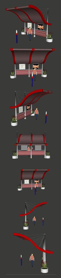 繁华商业街边站牌SU模型设计