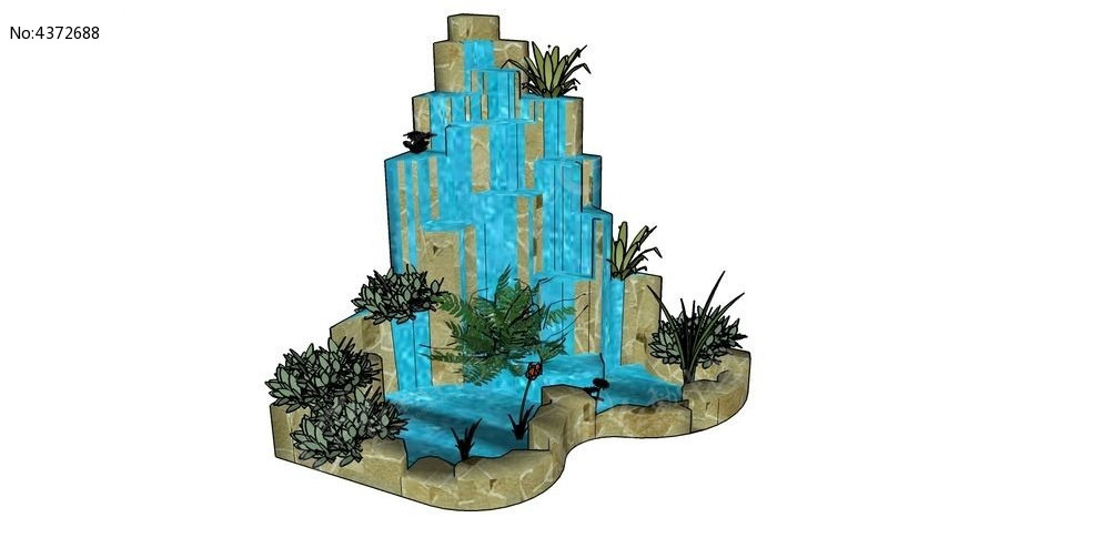 假山喷泉su模型图片