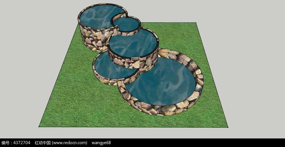 绿地草坪喷泉su模型